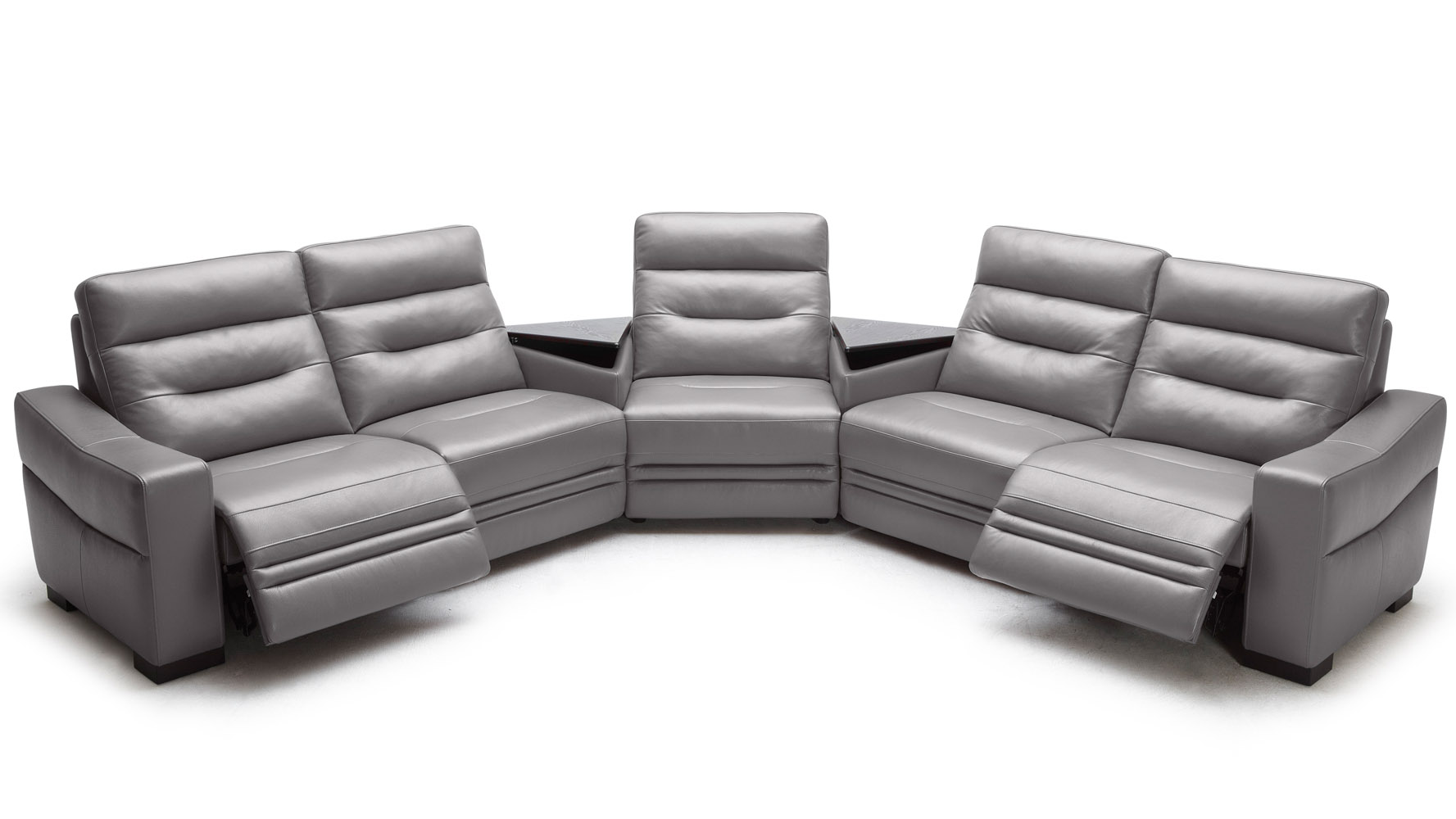 Beverly Light Grey Leather Media Center Sofa With Tables | Zuri Furniture