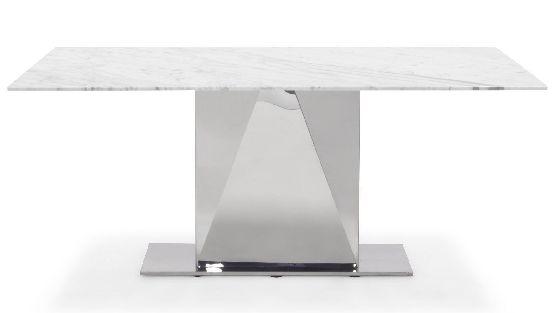 Bianco 71 Inch Marble Dining Table with Polished Stainless  : bianco chrome carrara marble dining table 5 from www.zurifurniture.com size 1778 x 1000 jpeg 95kB