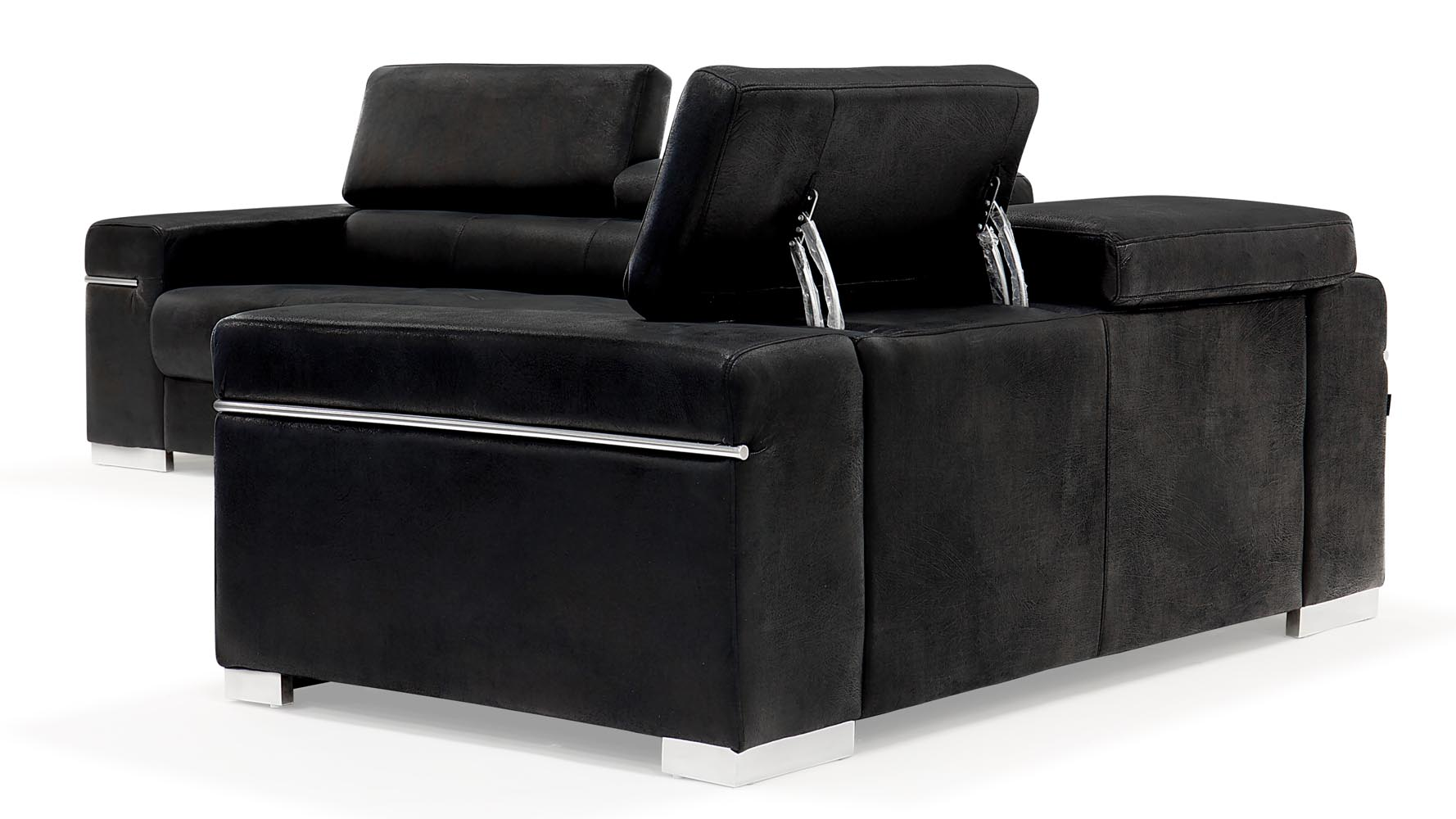 Relatively Black Angelo Suede Sofa With Loveseat | Zuri Furniture BE11