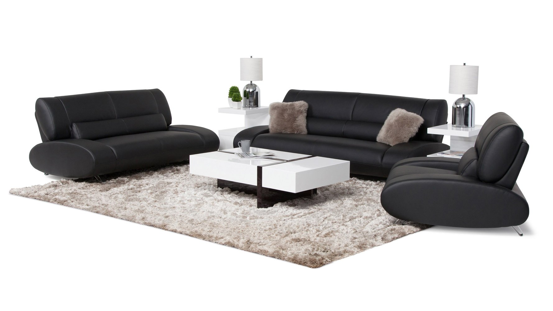 Black leather sofa and loveseat set whitney modern black leather sofa and loveseat set free Loveseat black