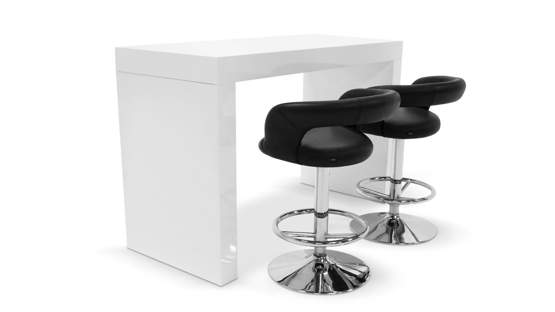Blanco High Gloss Modern Counter Bar White Zuri Furniture