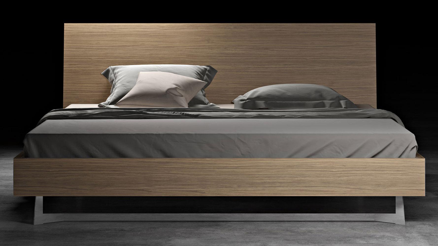 Brighton Wood and Stainless Steel Bed, Latte Walnut | Zuri Furniture