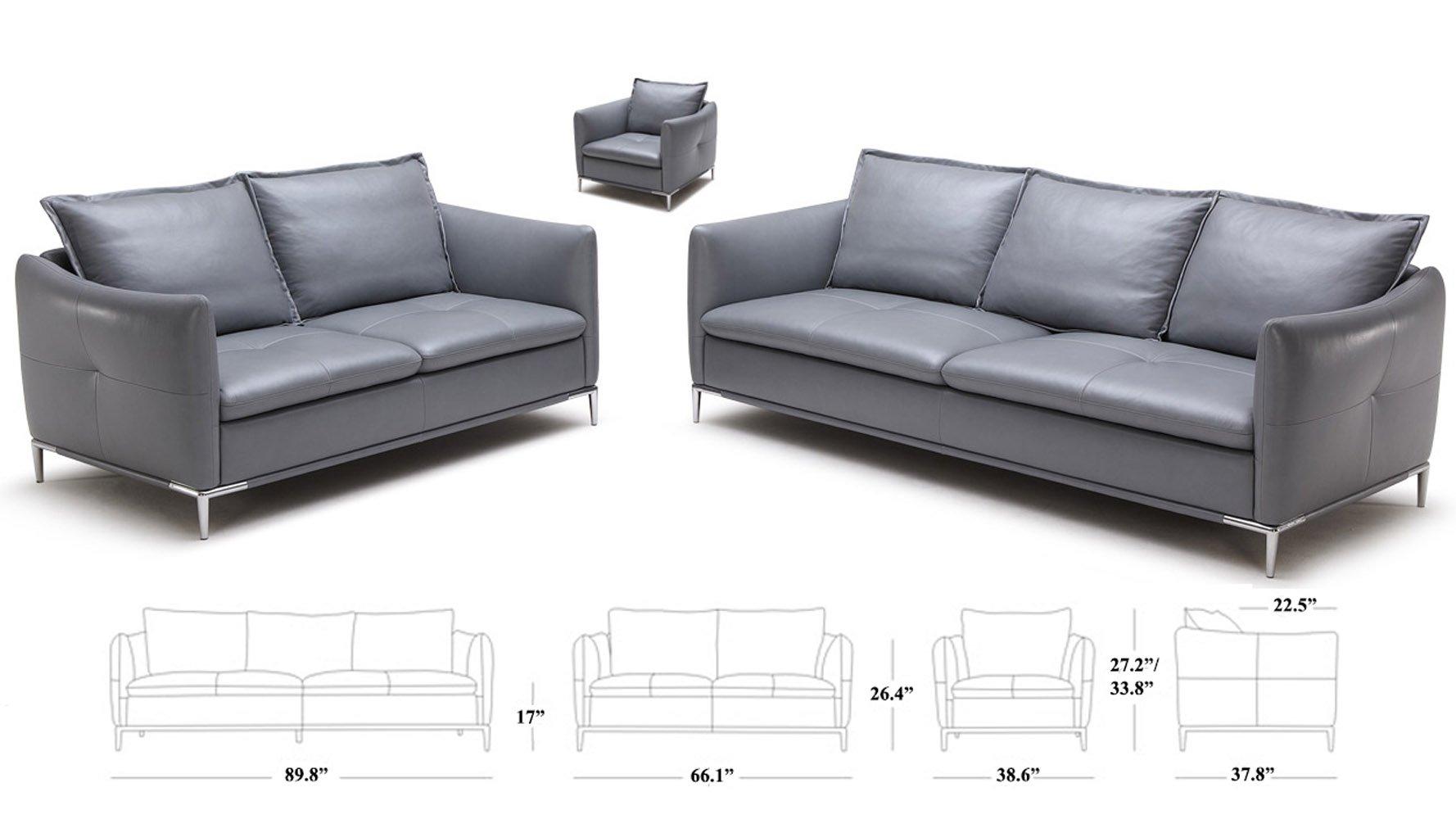 Grey Bristol Leather Sofa Set With
