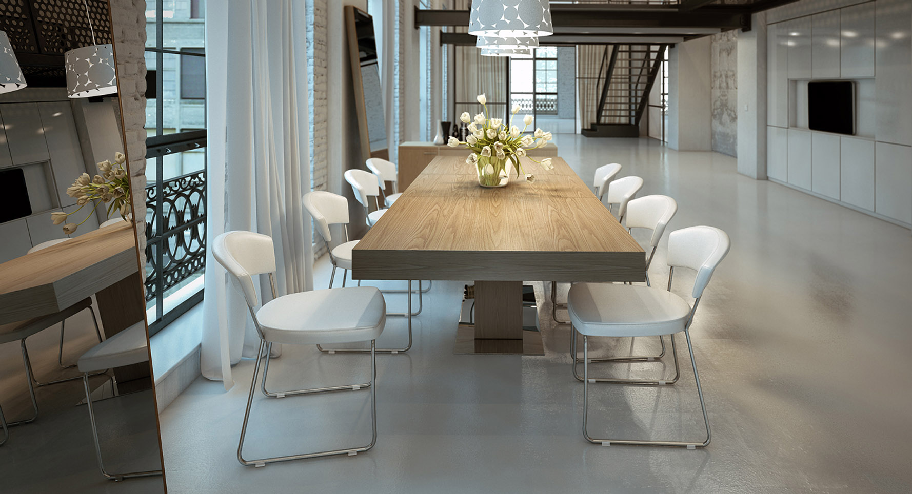 Broadway Extendable Wood And Steel Dining Table Zuri