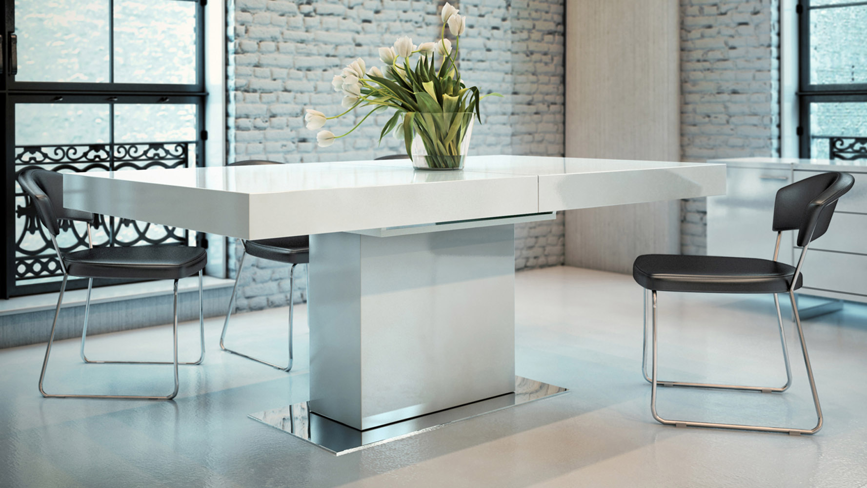 Broadway Extendable Wood and Steel Dining Table   Zuri Furniture