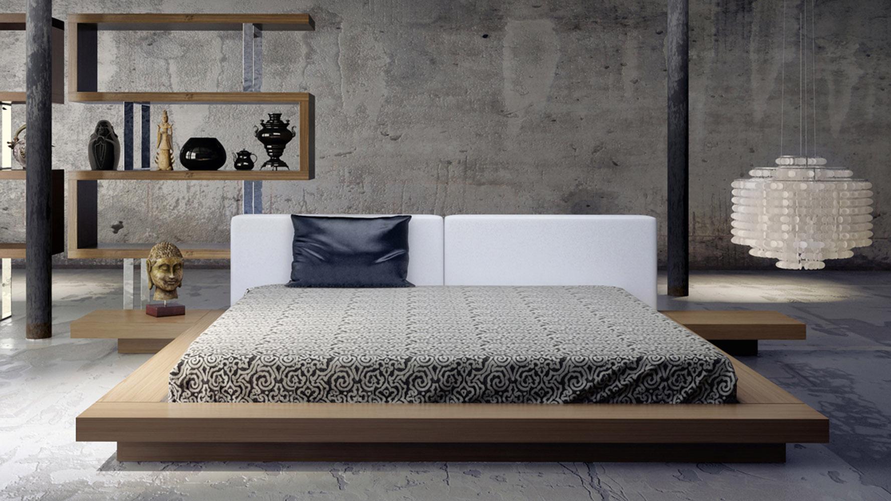 Brookline Bed White On Walnut Zuri Furniture