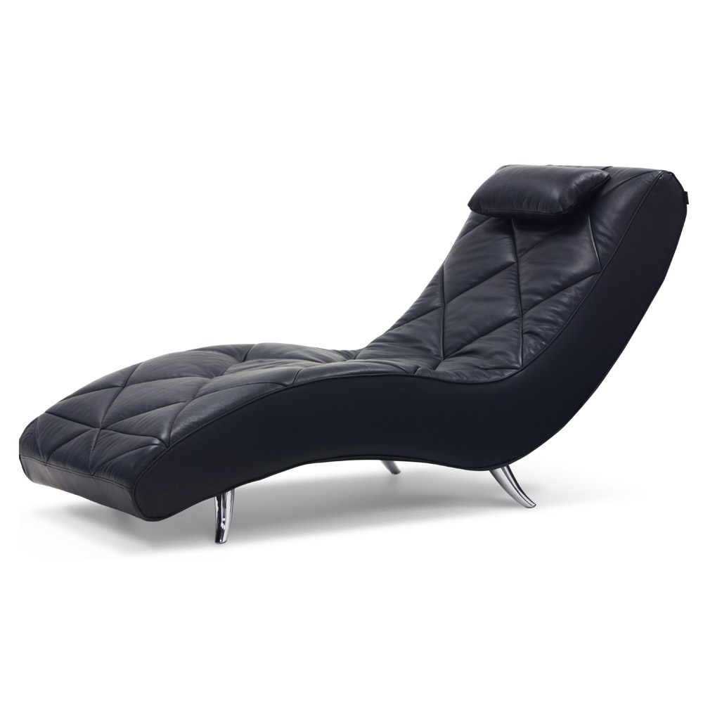 Bruce leather lounge chaise black zuri furniture for Chaise leather lounge