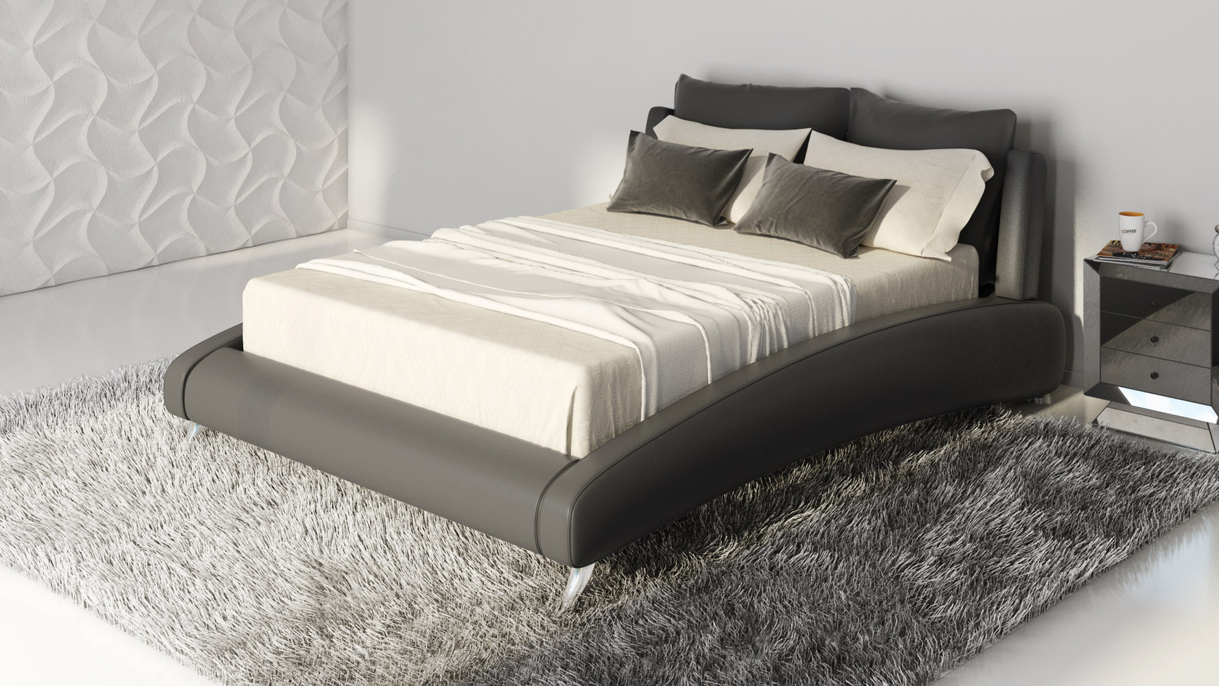 cadillac black leather platform bed by zuri furniture  zuri furniture - mouse over image to zoom or click to view larger