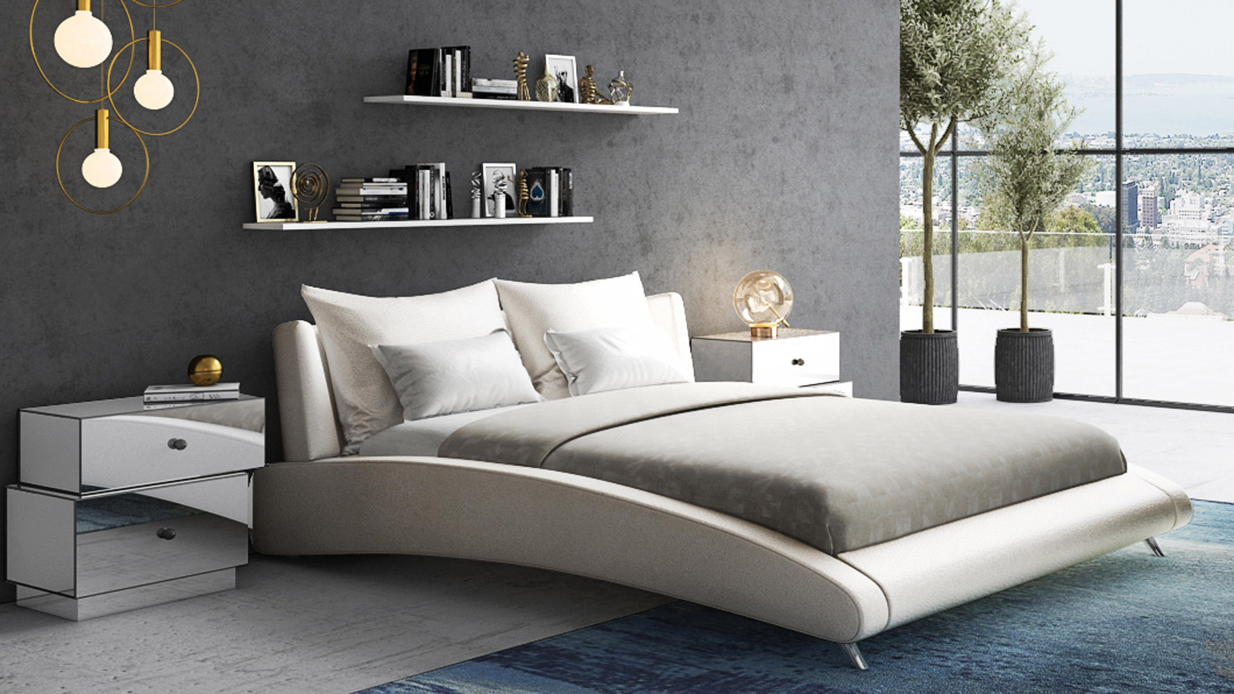 Cadillac Ivory Leather Platform Bed By Zuri Furniture Zuri Furniture