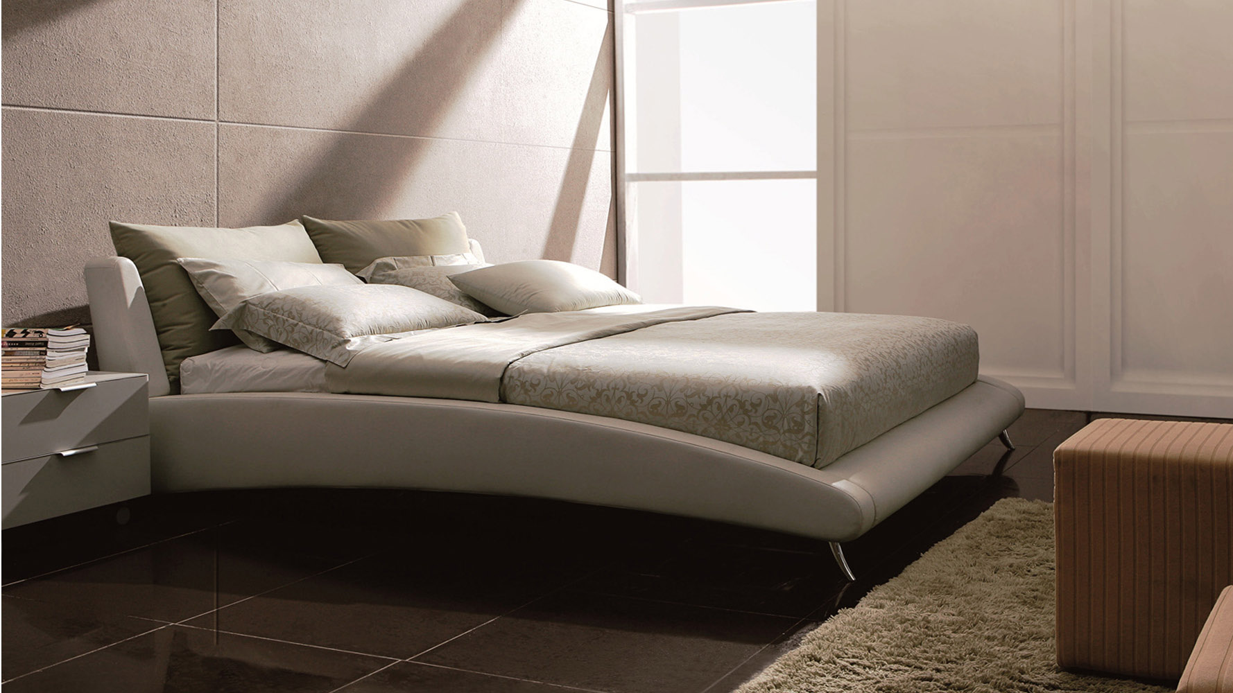 cadillac white leather platform bed by zuri furniture