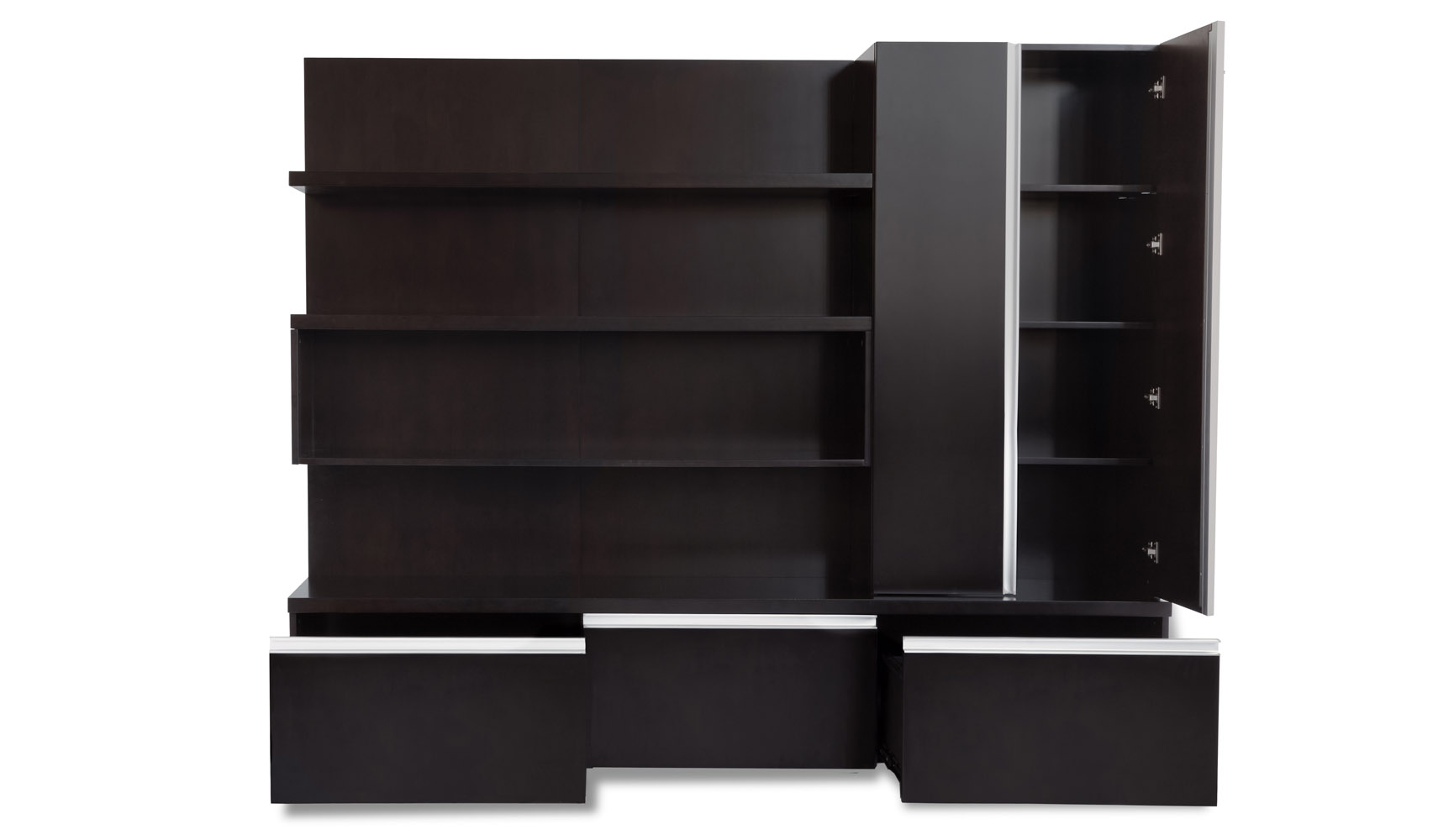 Carter Walnut Wood Modern Wall Unit With Shelving And File