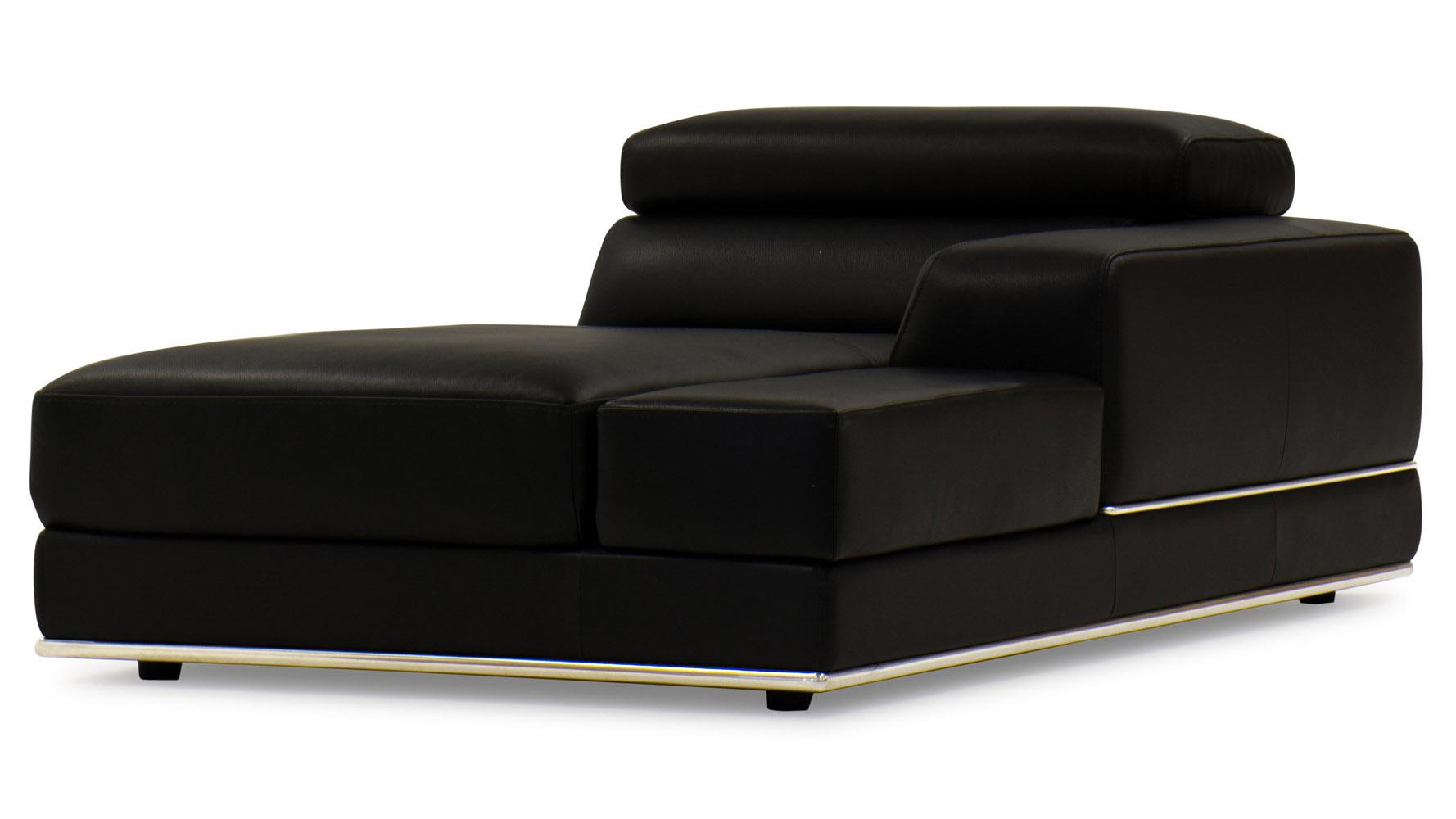 Wynn Black Leather Chaise   Zuri Furniture
