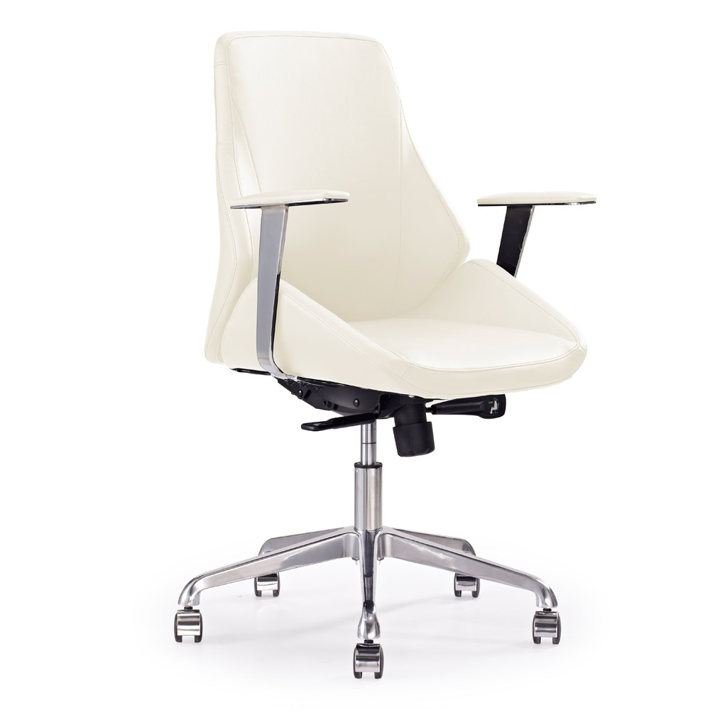 Genuine leather executive chair on sale - Chambers Genuine Leather Aluminum Base High Back Executive Chair Cream Zuri Furniture