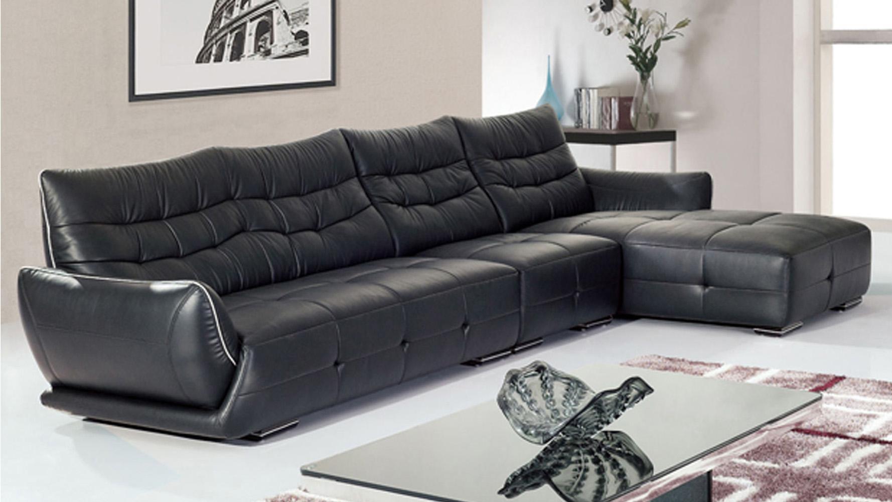 Chandler Dried Hardwood Frame Leather Sectional Sofa