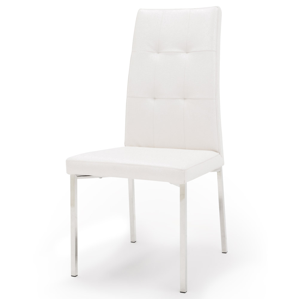 Charlotte Modern Dining Chair With Chrome Legs White Zuri Furniture