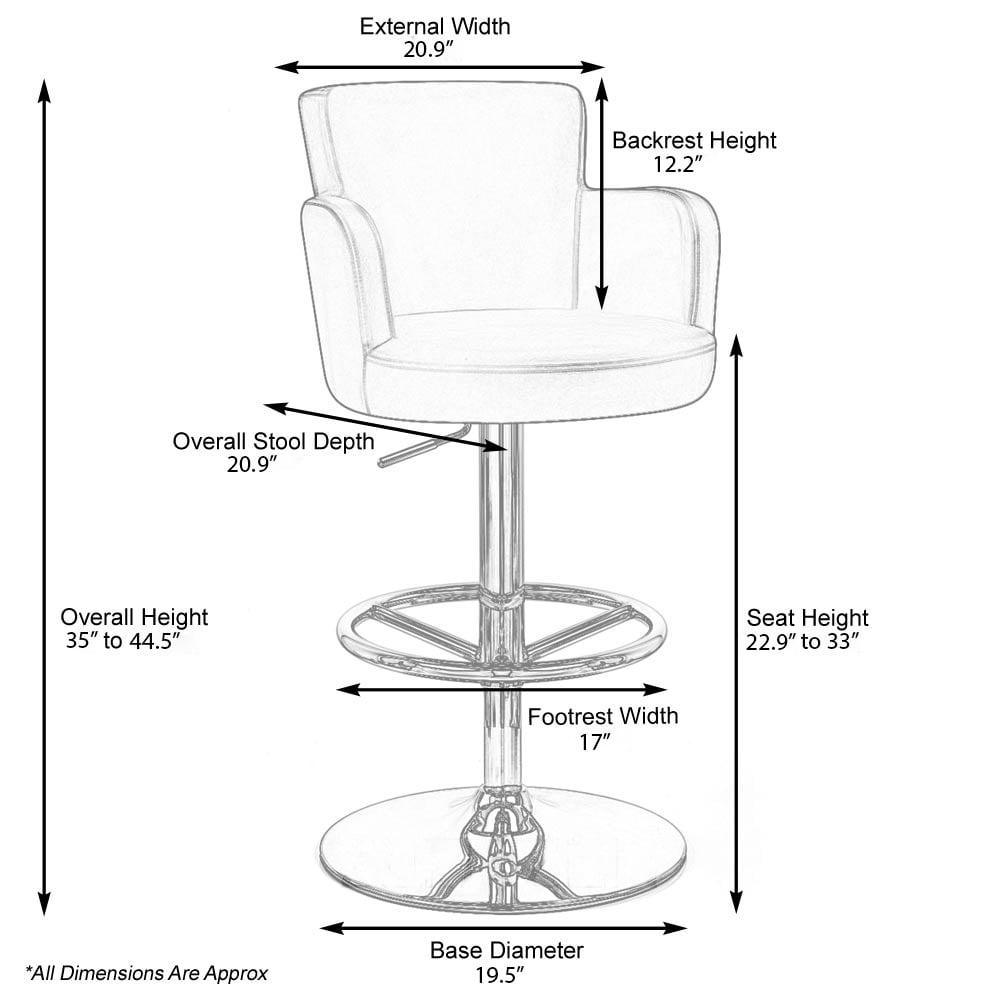 Cream Cau Adjule Height Swivel Bar Stool With Chrome Base