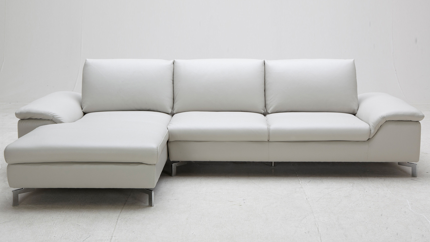 Grey Cigale Leather Sectional Sofa Zuri Furniture
