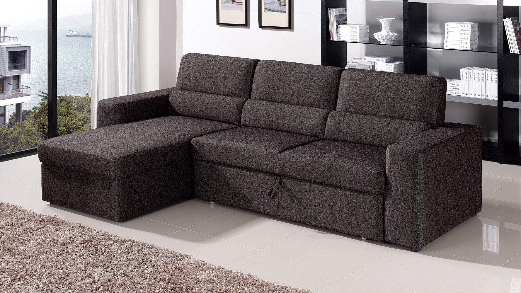 - Black/Brown Clubber Sleeper Sectional Sofa Zuri Furniture