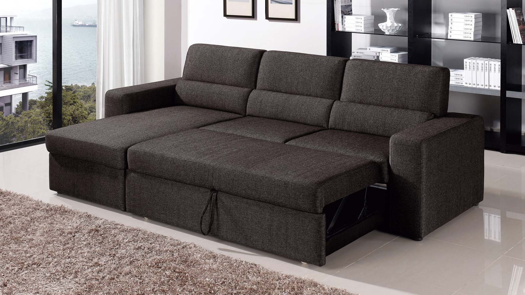Black Brown Clubber Sleeper Sectional Sofa Zuri Furniture ~ Leather Sleeper Sofa Set