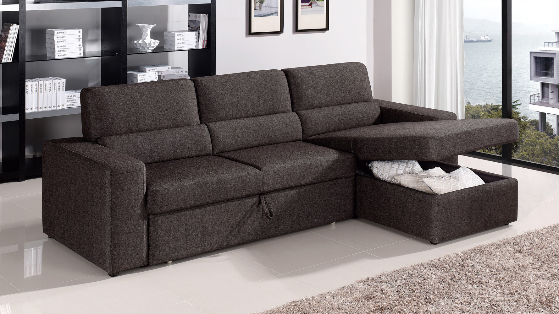 BlackBrown Clubber Sleeper Sectional Sofa Zuri Furniture - Convertible sofa bed sectional