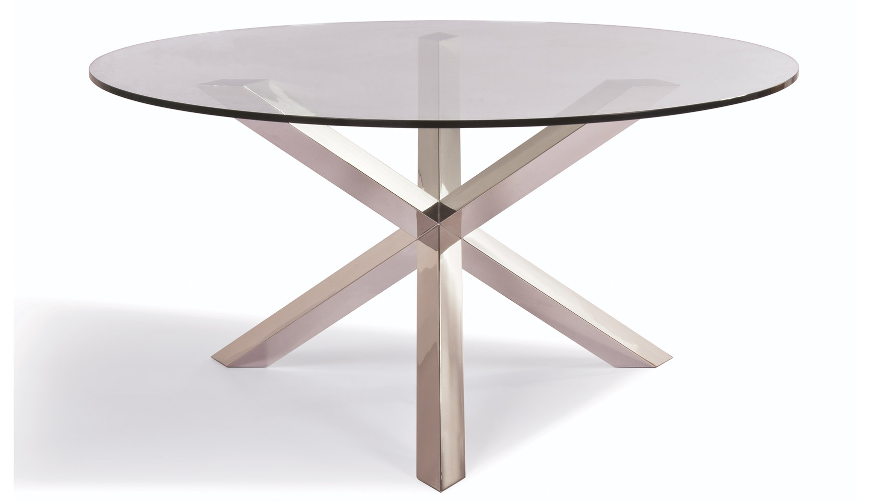 Clear tempered glass and stainless steel columbus dining for Tempered glass dining table
