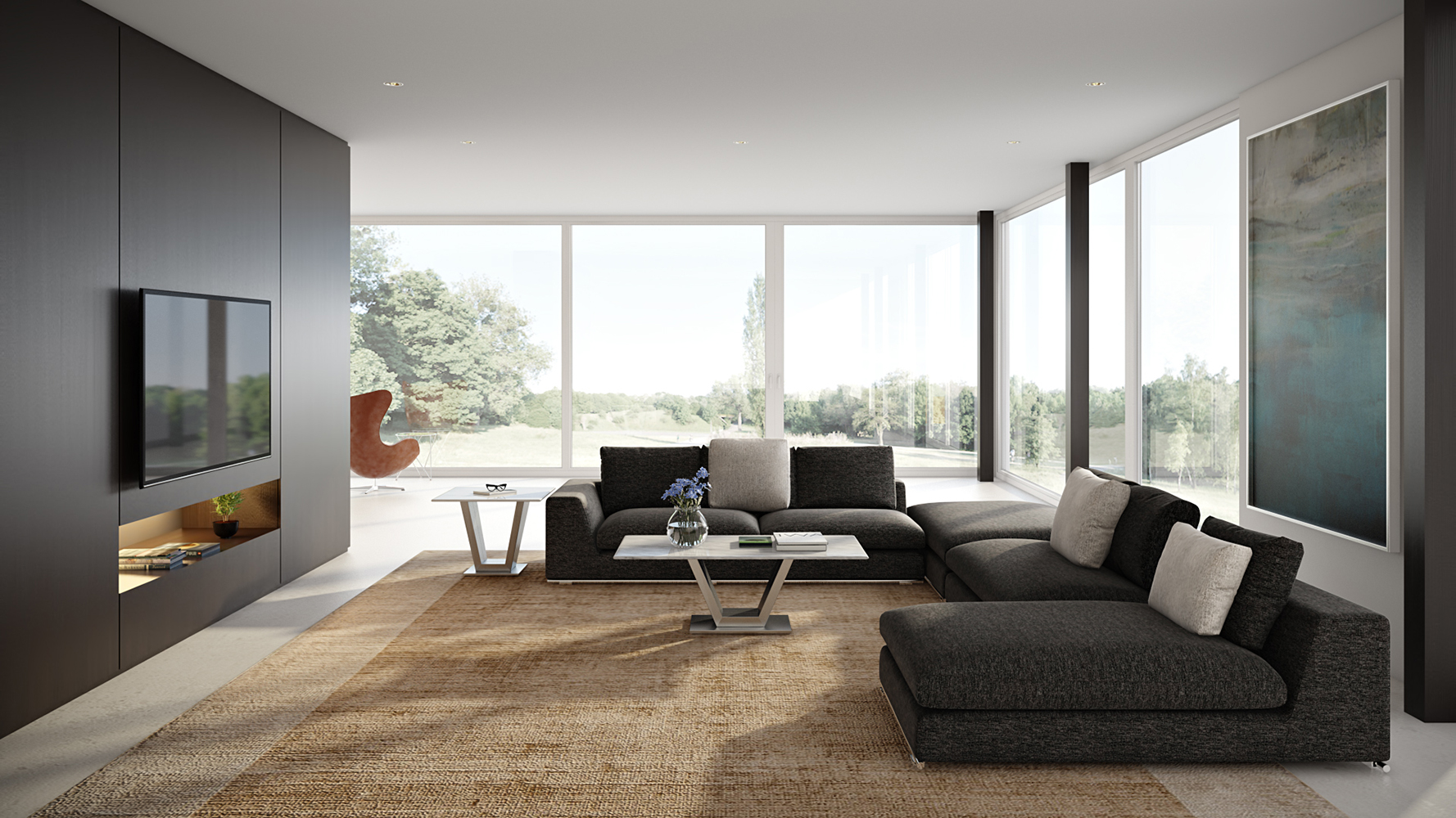 Comodo Sectional Sofa With Ottoman - Charcoal | Zuri Furniture