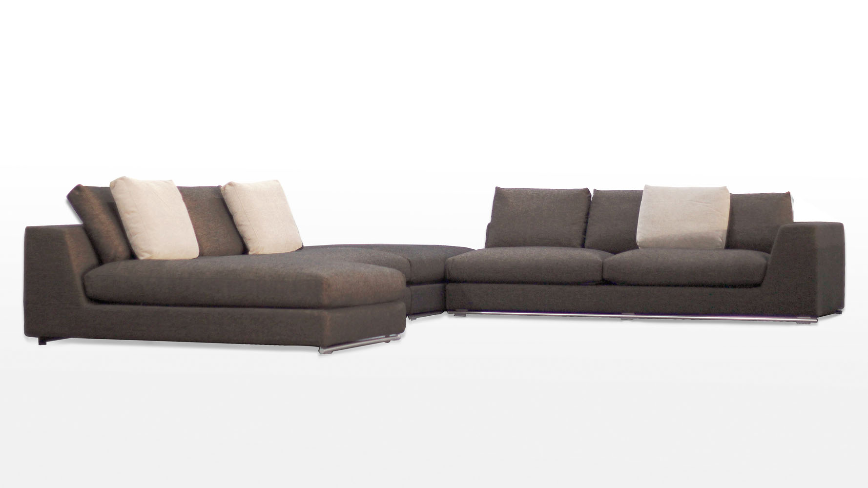 Comodo sectional sofa with ottoman charcoal zuri furniture for Chaise and ottoman