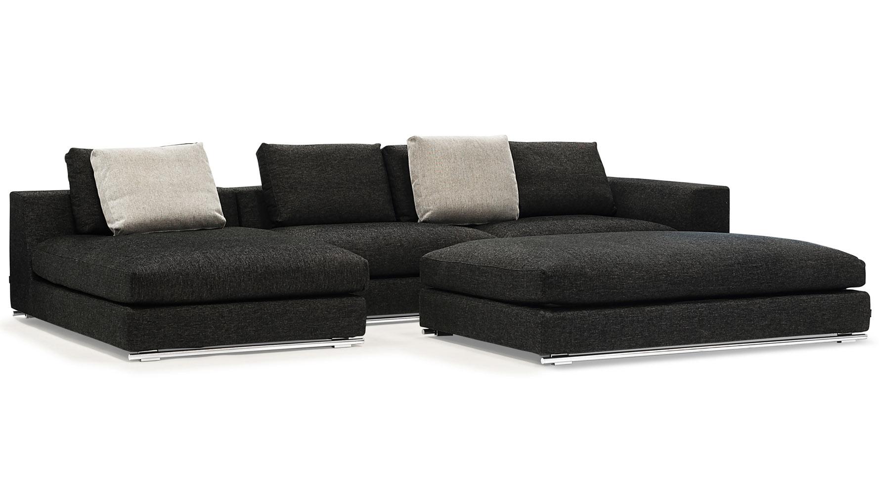 Black Fabric Sectional Sofa Divani Casa Arden Modern Black  : comodo sectional sofa left chaise with ottoman black2 from thesofa.droogkast.com size 1778 x 1000 jpeg 240kB