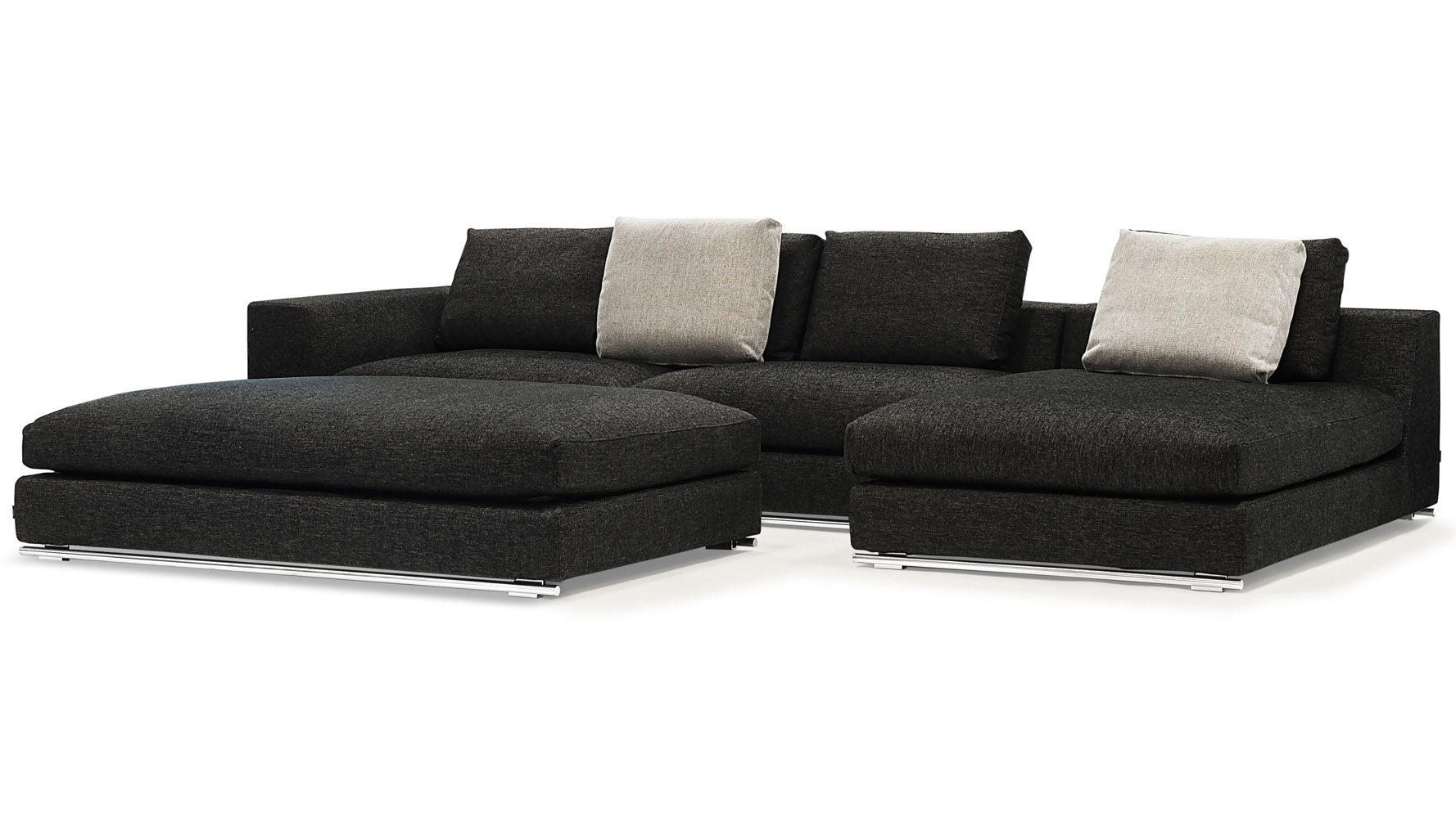Comodo Sectional Sofa With Ottoman Charcoal Zuri Furniture