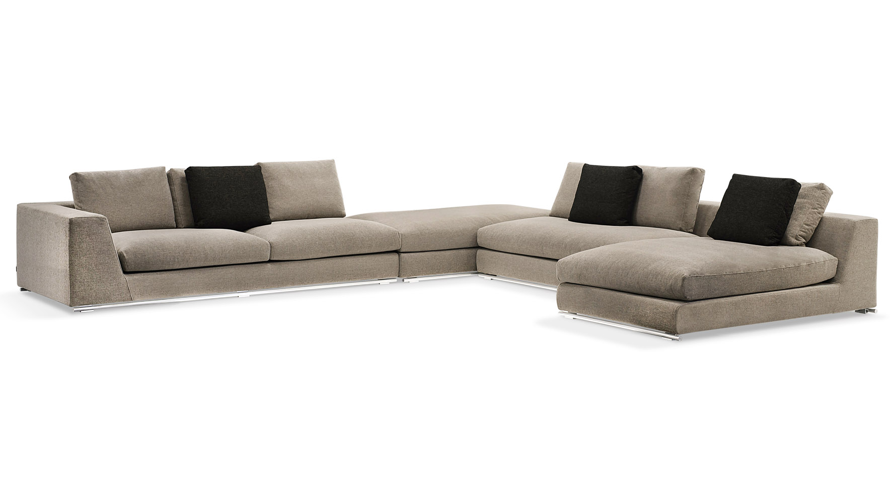 Comodo Sectional Sofa With Ottoman Grey Zuri Furniture