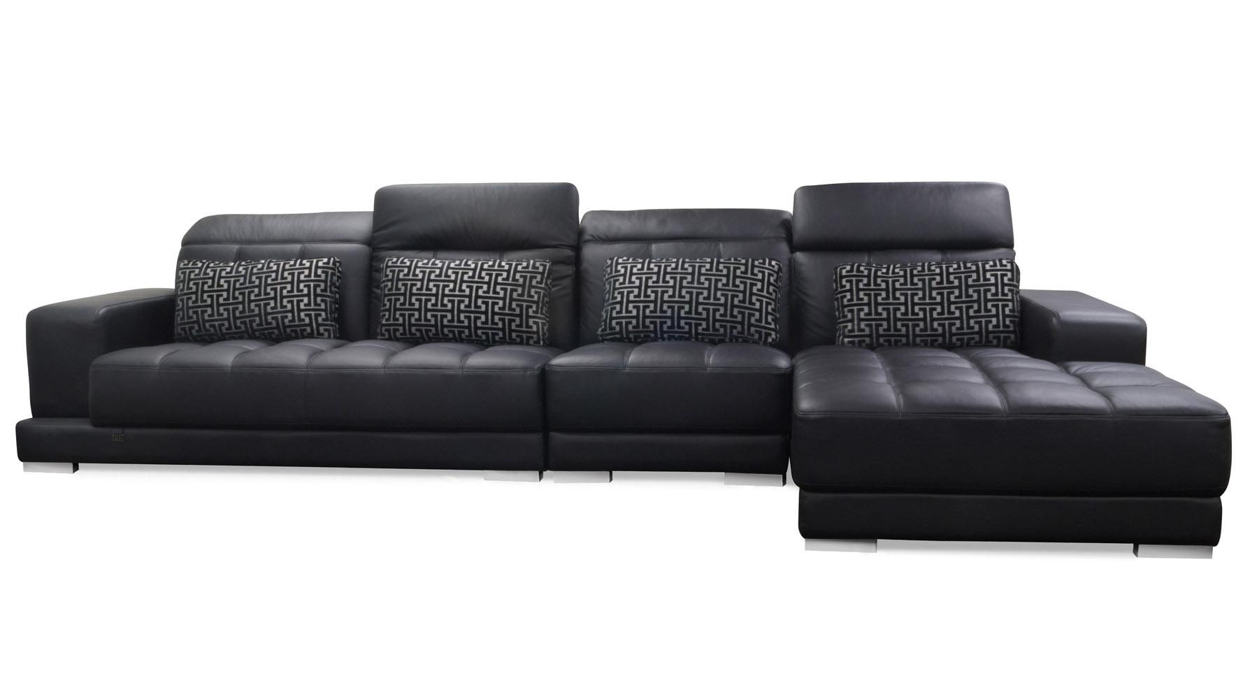 Large black leather sectional oversized plush leather for Large plush sectional sofa