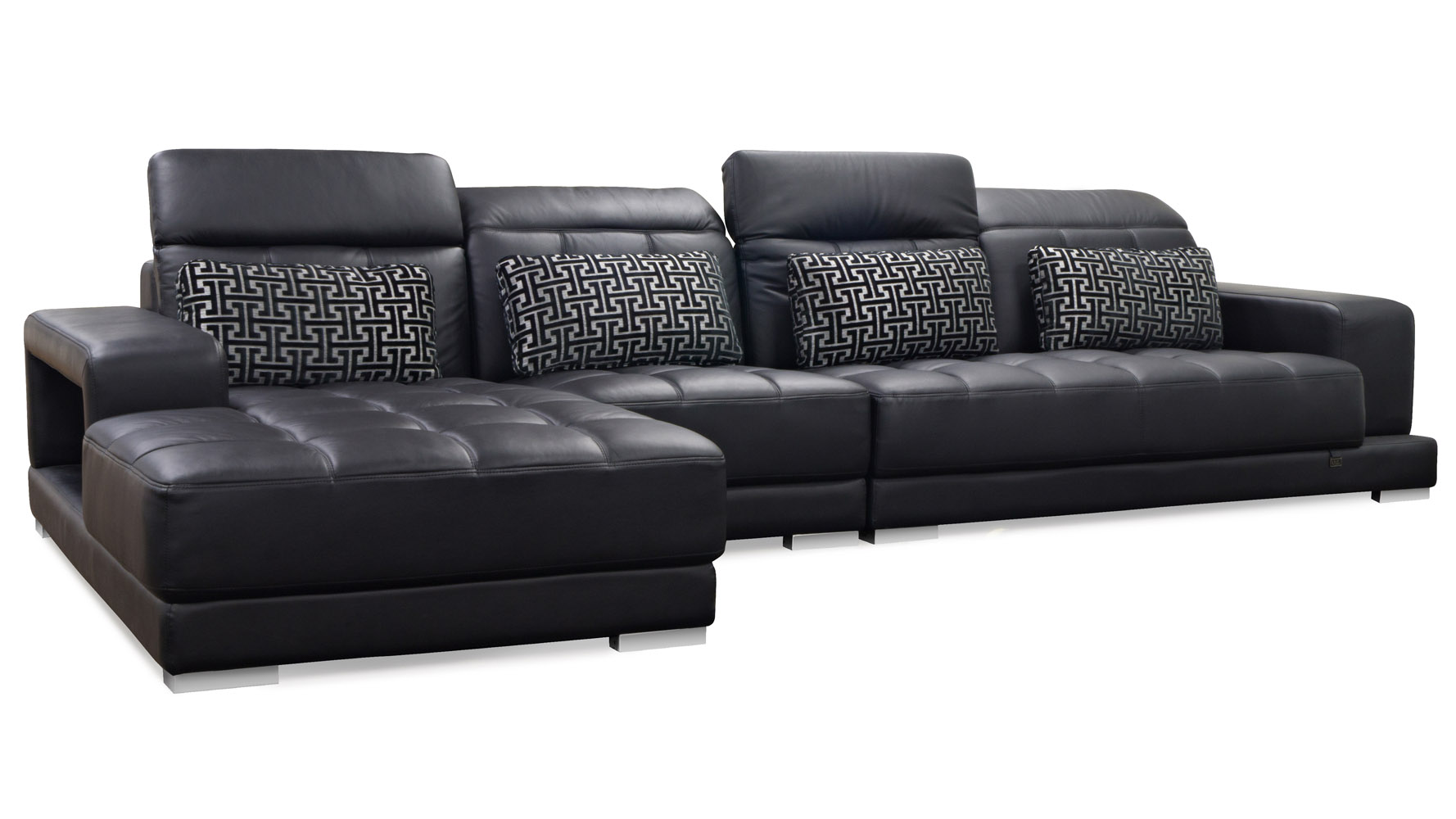 Conrad black leather sectional zuri furniture for Black leather chaise