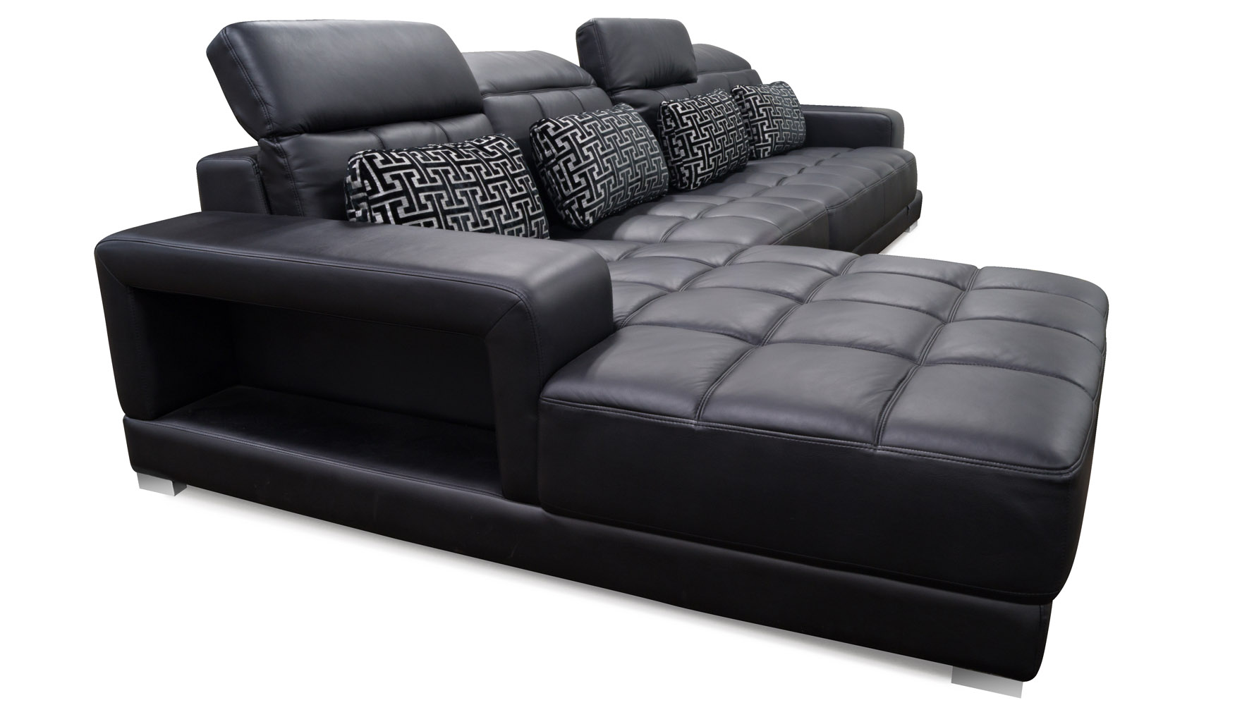 Conrad black leather sectional zuri furniture for Black leather chaise sofa