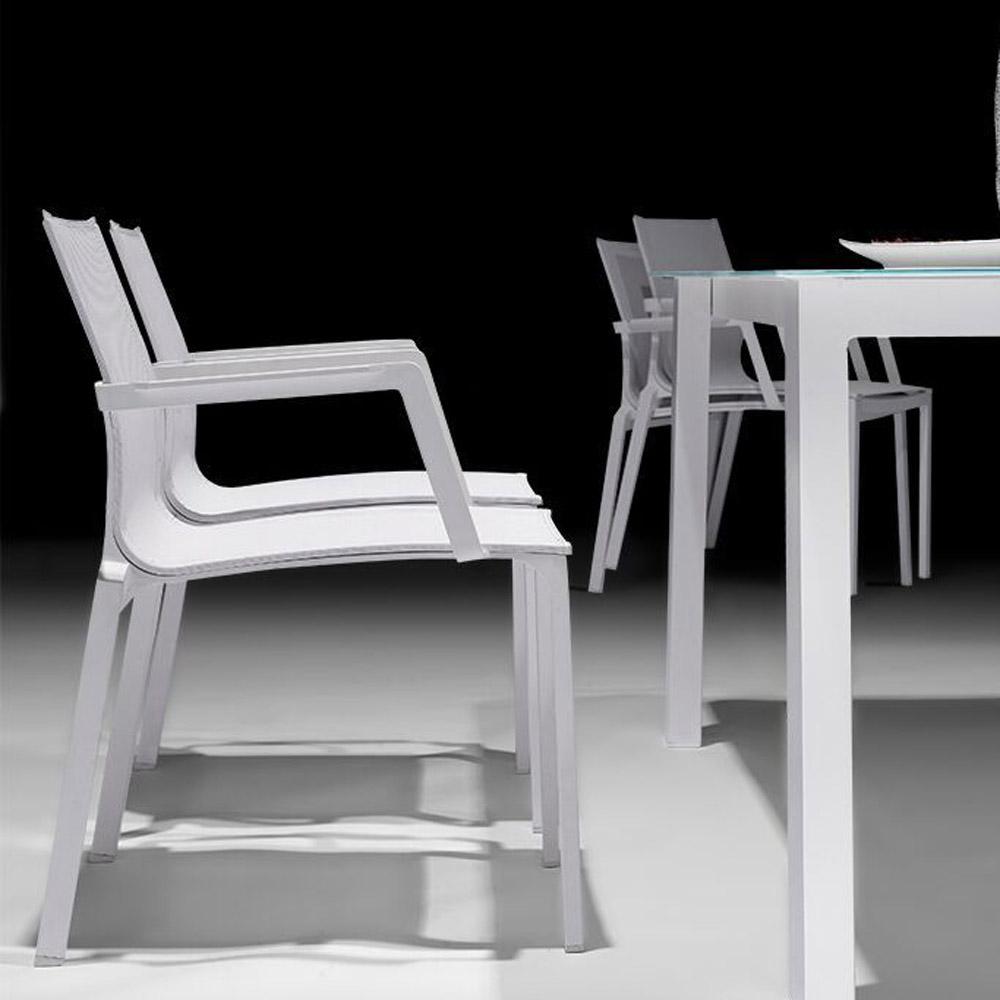 Corona Outdoor Dining Chair White Sling White Aluminum