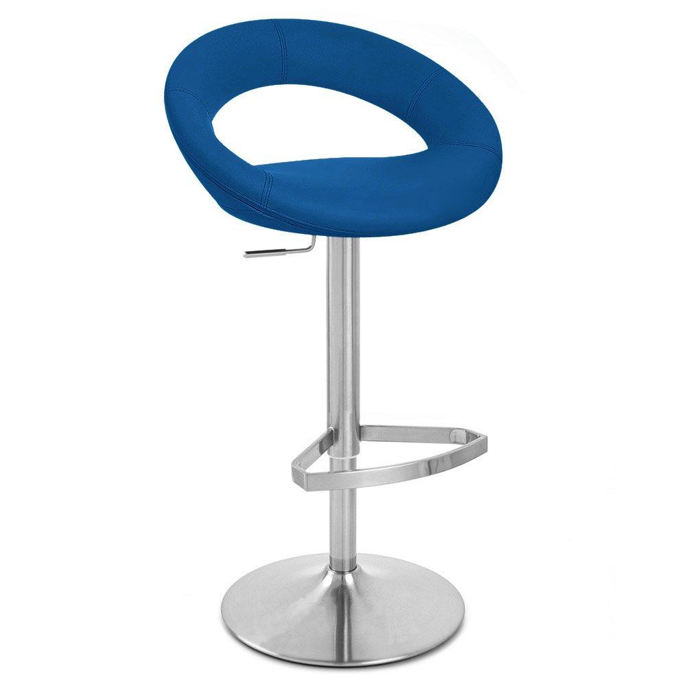 Dark Blue Crescent Adjustable Height Swivel Armless Bar