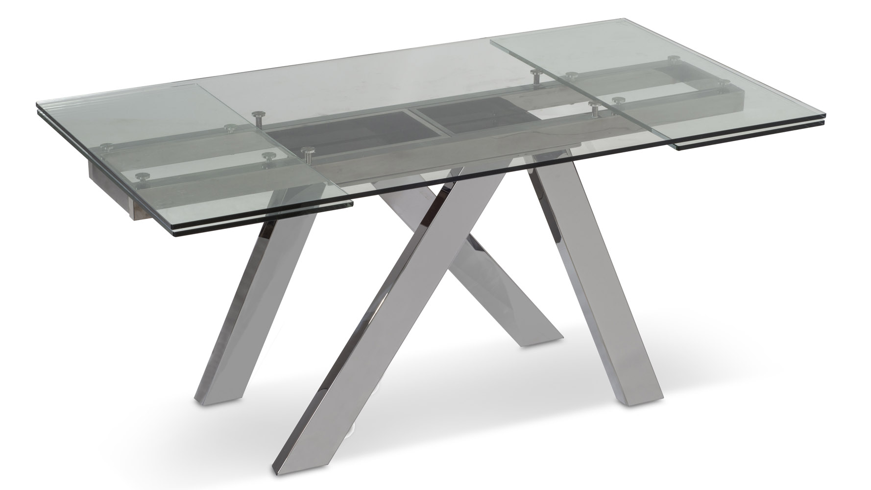 cruz expandable modern dining table with clear glass top zuri furniture. Black Bedroom Furniture Sets. Home Design Ideas