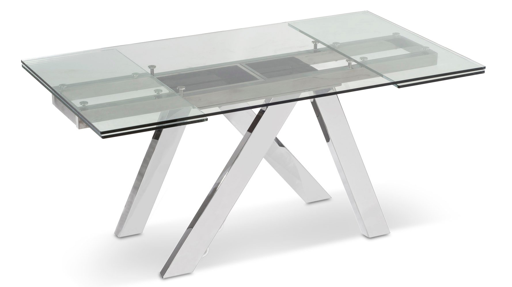 Cruz Expandable Modern Dining Table With Clear Glass Top