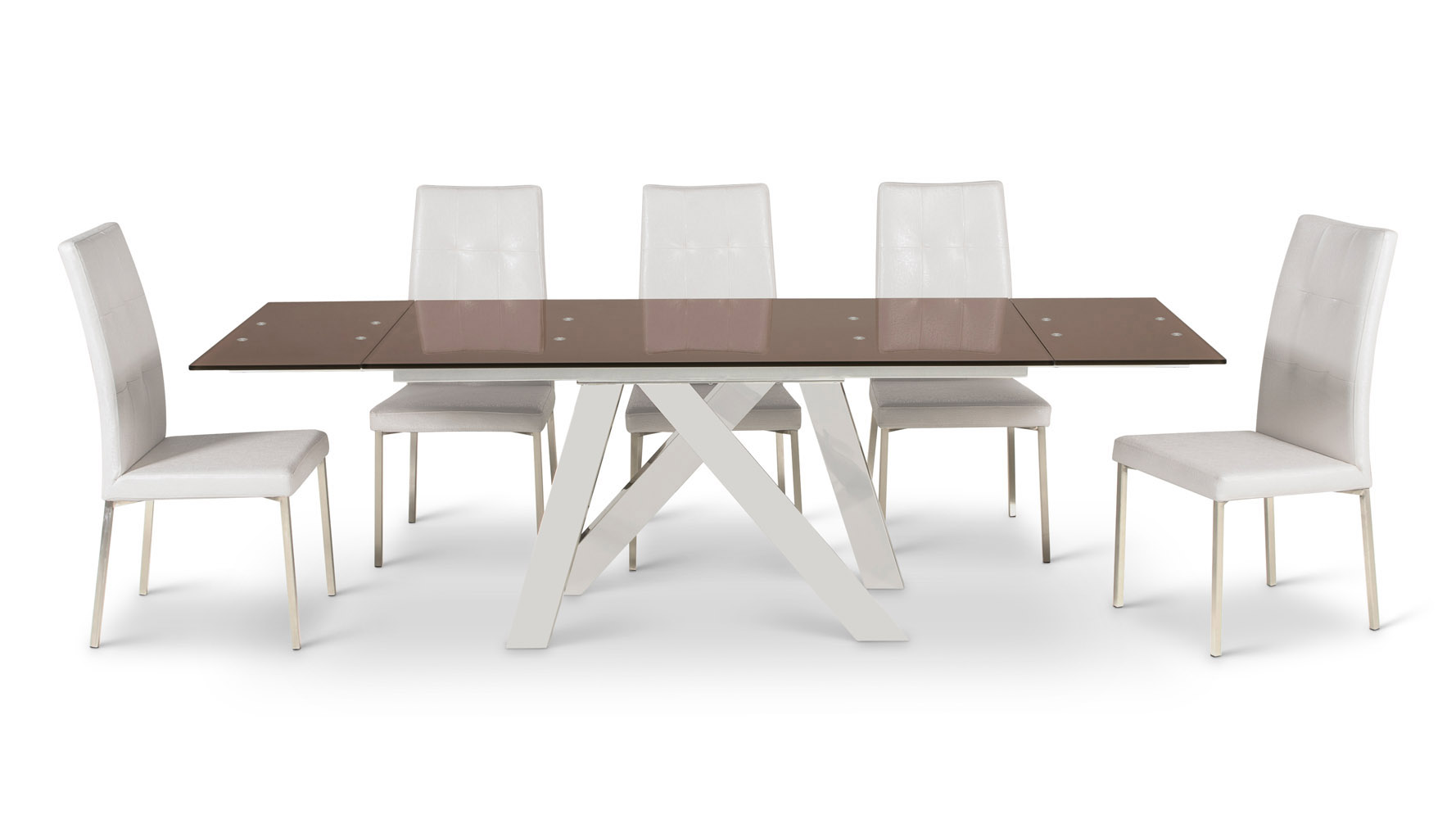 Cruz Expandable Modern Dining Table With Chocolate Glass