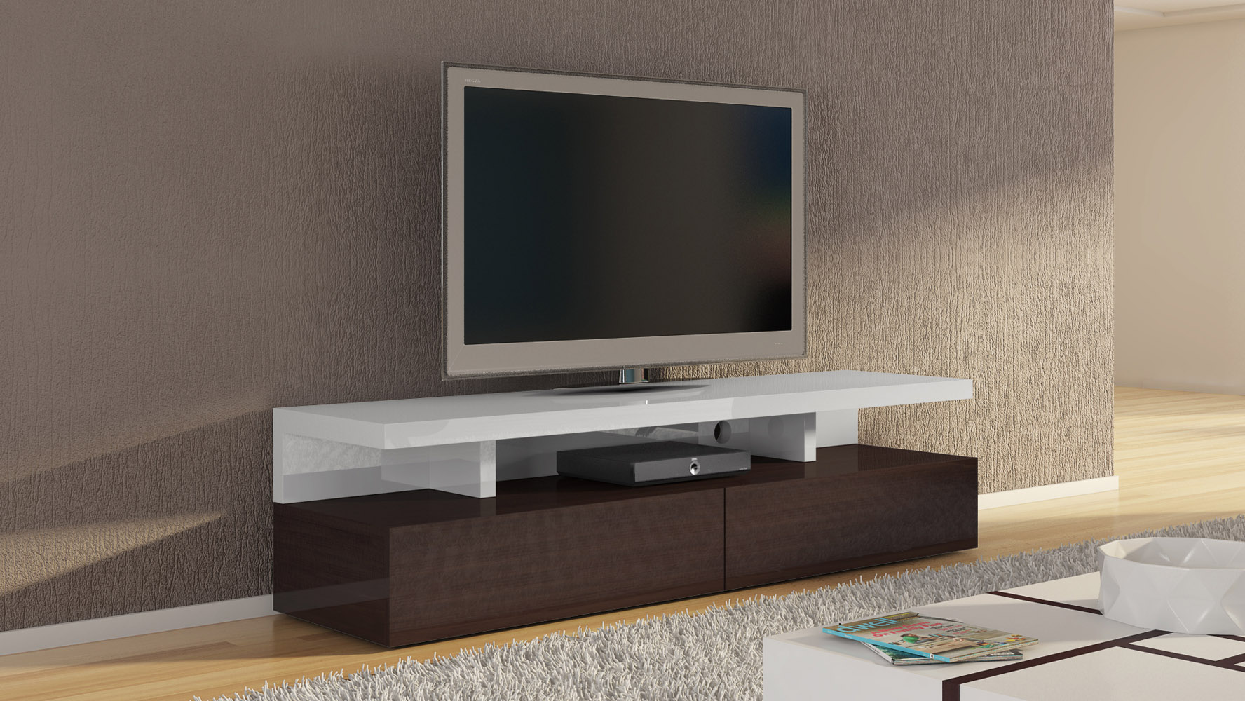 Mcintosh 71 Inch Tv Stand In White High Gloss And Ebony Accents