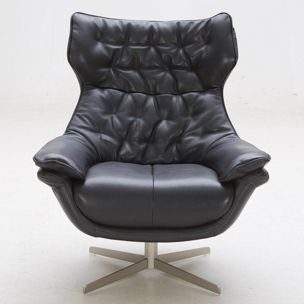 Darth Italian Leather Tufted Lounge Chair Black Zuri