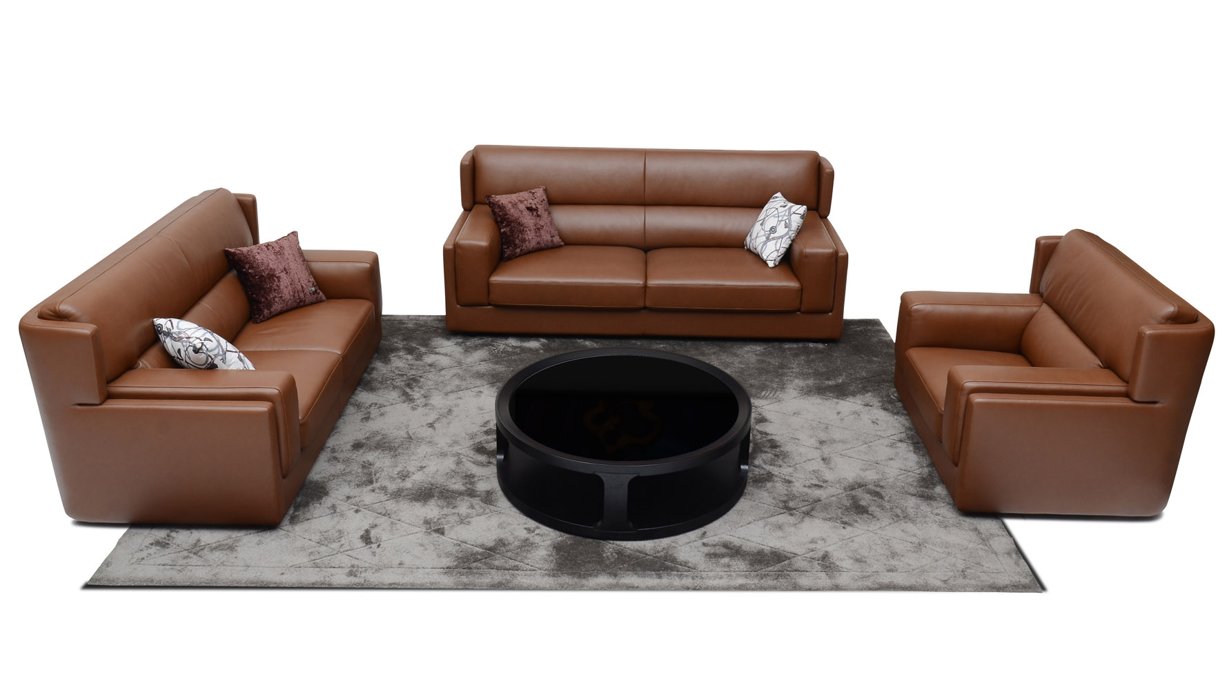 Destin 3 Piece Butterscotch Leather Sofa Set With Armchair