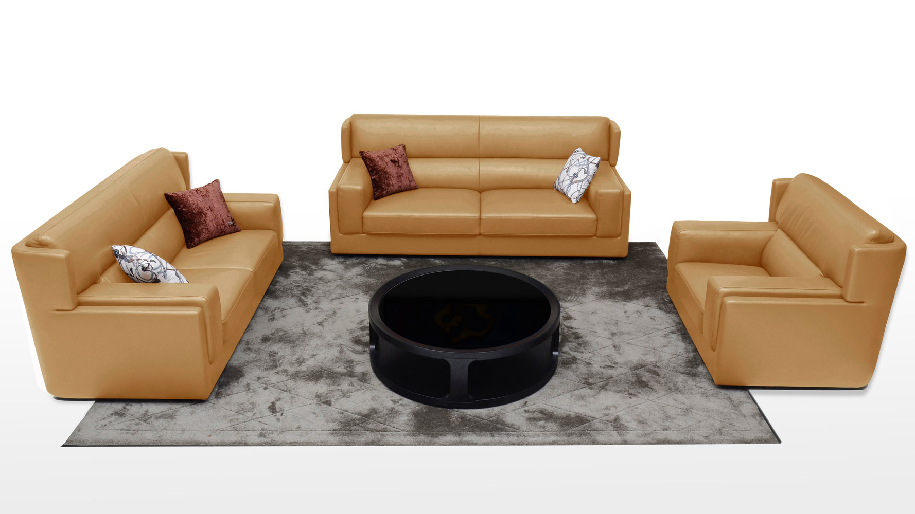Destin 3 Piece Butterscotch Leather Sofa Set With Armchair | Zuri Furniture