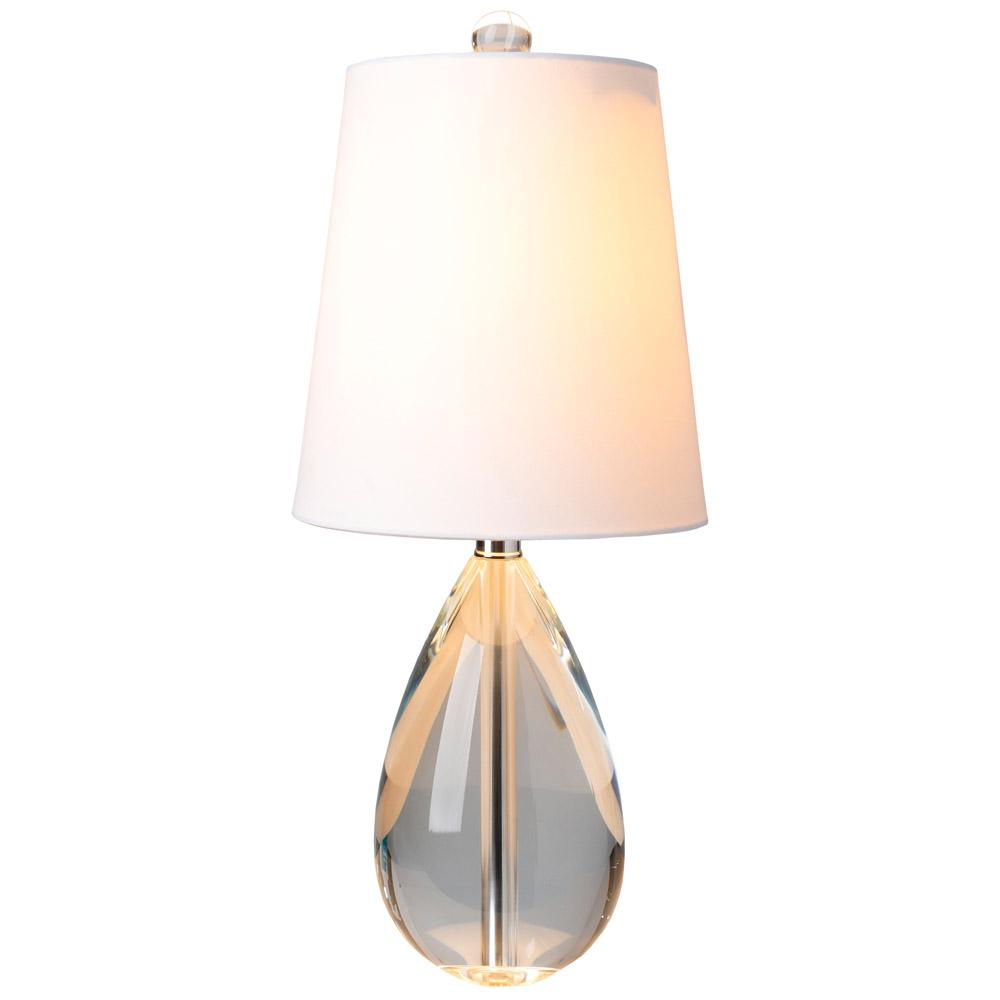 deuran crystal base and linen shade table lamp white zuri furniture. Black Bedroom Furniture Sets. Home Design Ideas