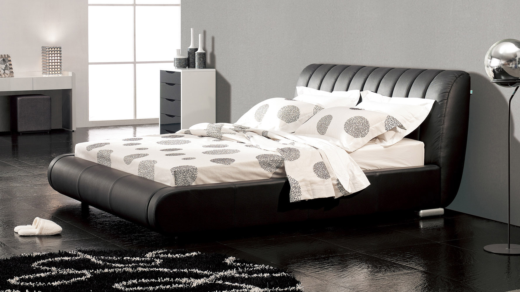 Bedroom Furniture Dubai dior leather contemporary platform bed - black | zuri furniture