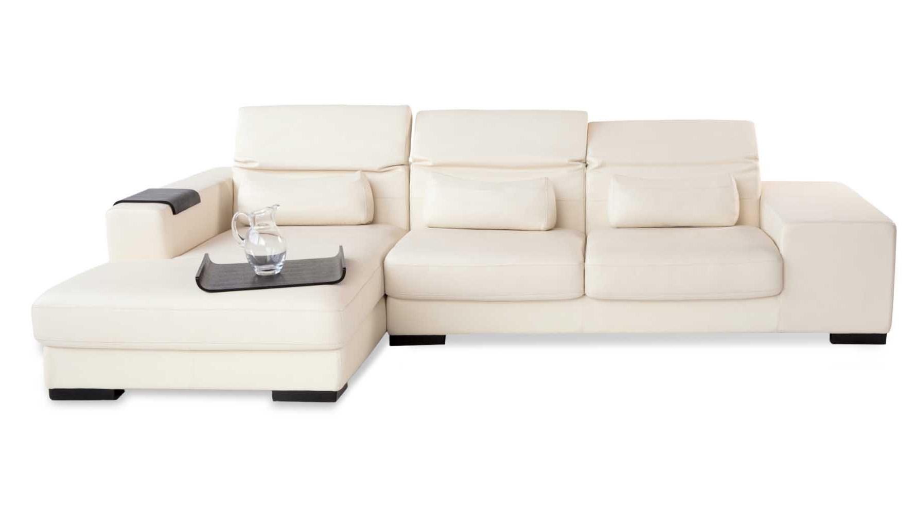 US Pride Sierra Corduroy Sectional Sofa With Storage Ottoman Left Sage