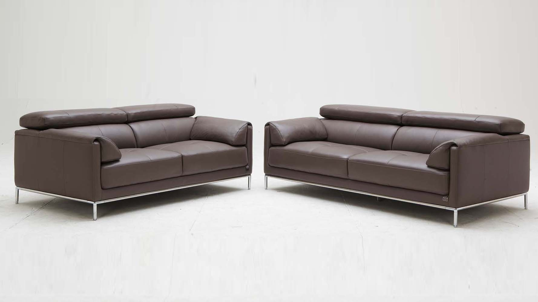 Brown Eaton Leather Sofa Set With Loveseat