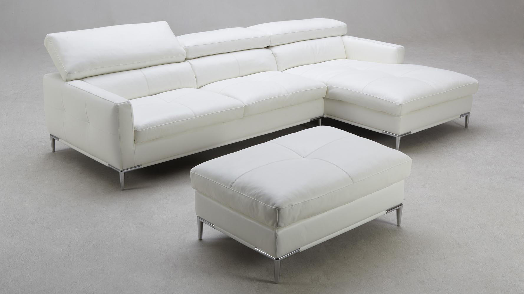 White Leather Eden Sectional Sofa With Ottoman Zuri
