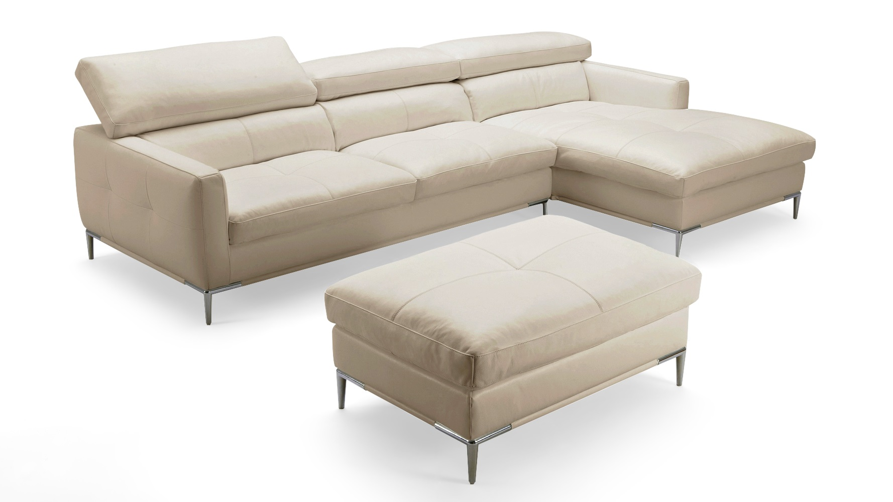 Eden Beige Leather Sectional Sofa With