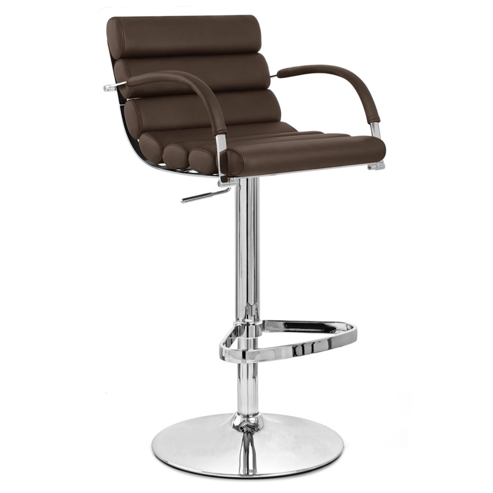 Brown Ego Adjustable Height Swivel Bar Stool With Chrome