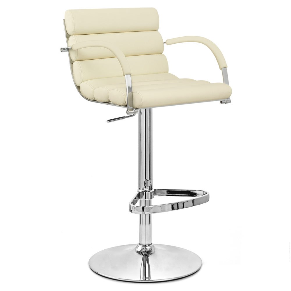 Cream Ego Adjustable Height Swivel Bar Stool With Chrome